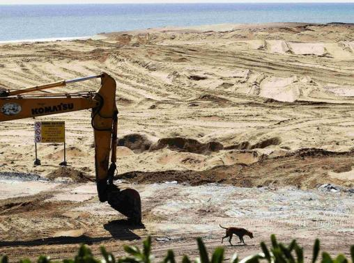A dog walks past excavator at construction site of Chinese real estate project of port city in Colombo