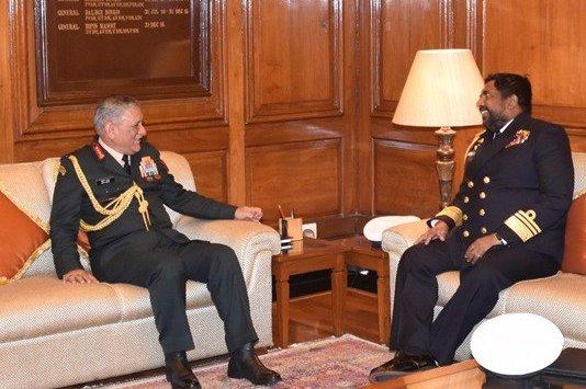 Vice Admiral R C Wijegunaratna met Gen Bipin Rawat