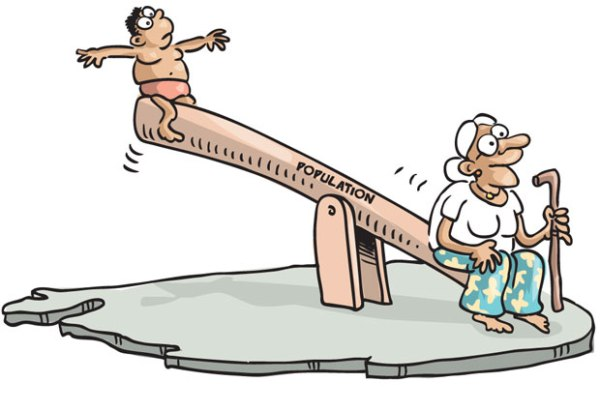 Sri Lanka elderly population -cartoon